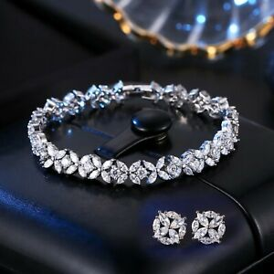 Womens White Gold Plated Flower Earrings and Bracelet Set with Cubic Zirconia CZ