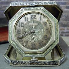 Antique 1920s Stratford Watch- Illinois WC Co Elgin Sterling Silver Travel Case