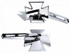 Alu Spiegel Chrom Iron Cross Malteser für Suzuki Honda Kawasaki Universal