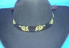 Western Equestrian Decor Cowboy/Cowgirl Yellow Rose Beaded HAT BAND W/2 Tassels