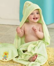 "Baby Embroidered Duck Hooded Bath Wrap Towel 30"" & Washcloth Set 9"" Green NIP"