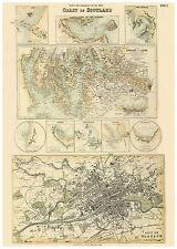 Scotland Glasgow River Clyde Portpatrick illustrated map Fullarton ca.1872