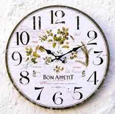 Wanduhr Küchenuhr grün weiß Kräuter Wand Uhr Küche Italien antik Vintage Deko AU