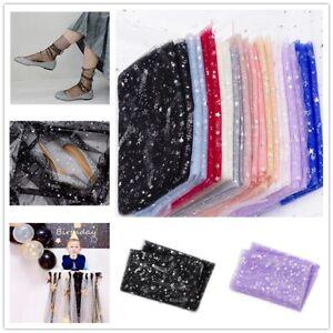 59x78.7 In Mesh Fabric Shiny Silver Foil Glitter Stars Cloth DIY Crafts Wedding