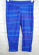 HIND Capri/Crop Fitness Tights / Workout - Bright Blue Stripe Womens Size Medium