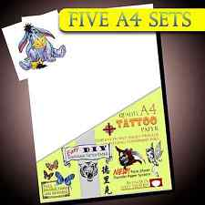 New Temporary Tattoo Transfer Paper - Easy Waterproof Tattoos for Inkjet 5 set
