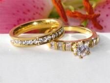 Yellow Gold Solitaire with Accents Round Costume Rings