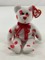 "TY Beanie Baby Smooch Valentine Teddy Bear 9"" White & Red Kisses Stuffed Plush"