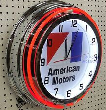 "18"" AMC American Motors Corp Sign Double Neon Clock"