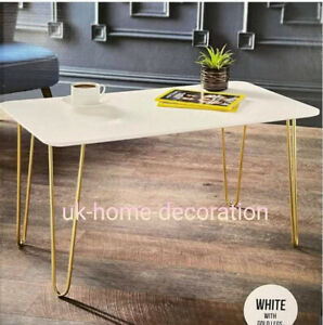 White Coffee Table With Gold Hairpin Leg Living Room Furniture Rectangle Table