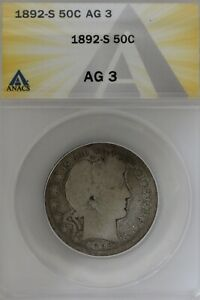 1892-S  .50 ANACS   AG 3  Barber Half Dollar, Liberty Head Half, 50 Cents