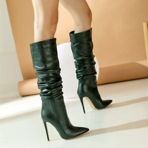 Womens Leather Party Clubbing Slouch Knee High Boots High Stilettos Heel Slip On