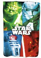 Official Star Wars Yoda, R2-D2, Darth Vader Fleece Blanket - 150cm x 100cm - NEW