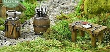 Viking Medieval Set 3 Table w Book + Anvil + Barrel GI 700990