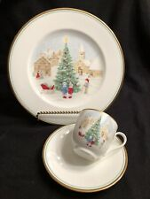 Mikasa Bone China Merry Christmas 3 Pc Place Setting Dinner Plate Cup & Saucer