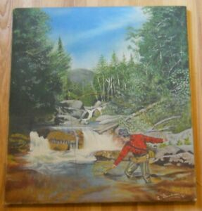 Vintage Oil Painting 1951 Outdoorsman Fly Fishing w/ Net Cigar + Hat