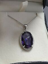 White gold finish oval purple amethyst pendant necklace free postage gift boxed
