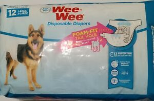 Four Paws Wee-Wee Dog Diapers with Tail-Hole, Disposable, Large/X-Large, 12ct