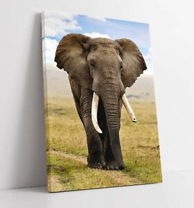 ELEPHANT 2 LARGE CANVAS WALL ART FLOAT EFFECT/FRAME/PICTURE/POSTER PRINT-GREY