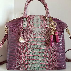 🌹 Brahmin Large Duxbury Dome Satchel Ombre Julep Leather Bag + Tassel NWT***HTF