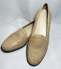 New Worthington Women's 9 W Tan Woven Leather Slip On Loafer Casual Shoe No Box