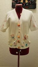 JACK B QUICK WHITE EASTER BUNNY SWEATER WOMEN'S SIZE PS  EUC