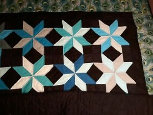 Homemade Stars Twin Quilt in blues and greens