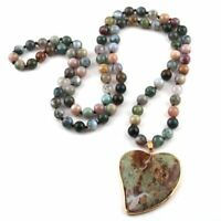 Fashion Semi Precious Long Knot Green Agate Natural Stone Slice Pendant Necklace
