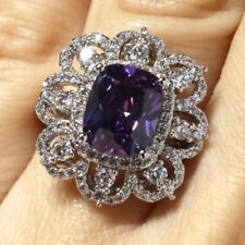 Sparkling Purple Amethyst Ring Women Engagement Jewelry 14K White Gold Plated
