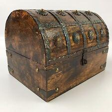 """Wooden Pirate Treasure Chest Decorative Storage Box (8""""x6""""x6"""") #3"""