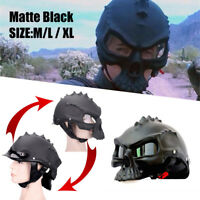 Skull Black ABS Motorcycle Helmet Goggles Novelty Casque Half /full Face SIZE L
