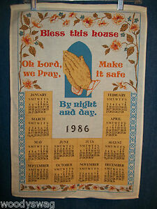 Vintage Calendar 1986 Material Praying Hands Oh Lord We Pray