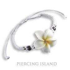 Blumen Armband Handarbeit längenverstellbar weiß Frangipani Design B157