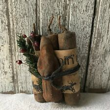 """Primitive 4"""" Beeswax Dipped Scented Candles Santa Spice Coated Christmas"""