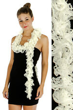 Knit Open Weave Curly Ruffle Scarf White & Silver Sparkle Accents