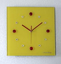 Design Funk Wanduhr Glas original Swarovski Elements modern Küche Wohnzimmer Uhr