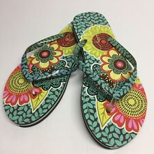 Vera Bradley Womens Medium 7-8 Flower Shower Flip Flops Slippers Sandals