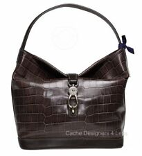 New Dooney & Bourke Taupe Croco Logo Lock Sac Shoulder Bag