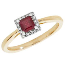 Diamond Cluster Ruby Yellow Gold Fine Rings