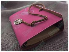 7*5 Refillable Matte Leather Bound Journal Travel Diary Leaves Notebook Rosy Red