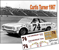 CD_1563 #74 Curtis Turner  1967 Chevy Chevelle  1:25 scale decals