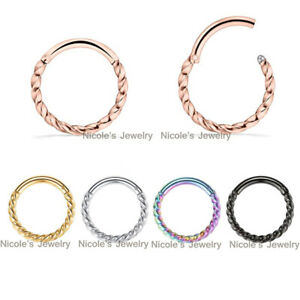 1pc Surgical Steel Nose Ear Lip Rope Twist Segment Ring Hinged Clicker Piercing
