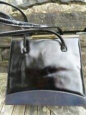 SLICK CLASSY  BLACK SHINY  FAUX LEATHER  VINTAGE 1950'S HANDBAG HOLMES NORWICH