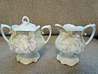 """Vintage porcelain gold leaves design sugar and creamer set with lid 4.5"""" tall"""