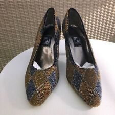 J Renee Vintage Gold Copper Pewter Bugle Bead Covered Pumps Size 8