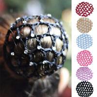 Women Hair Bun Cover Snood Rhinestone Ballet Dance Hair Net Crochet Hair Acces