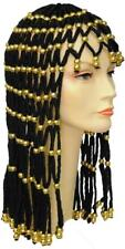ADULT CLEOPATRA EGYPTIAN QUEEN HEADDRESS BLACK & GOLD LACE WIG COSTUME LW190BKG