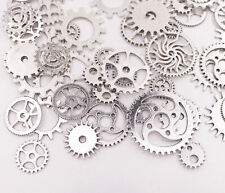 100g Silver Color Brass Steampunk Gears 10mm-30mm Round Clock Watch Wheel Gear