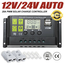 12V/24V 20A Solar Panel Battery Regulator Charge Controller PWM LCD Display