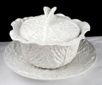 "Vintage Cabbage Soup Tureen with 12.5"" Tray Pretty detail Fine ceramic"